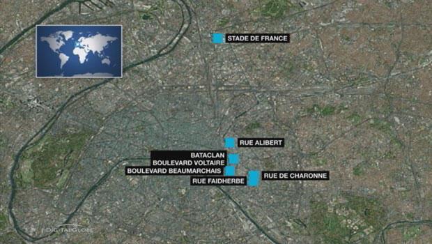 La carte des six sites attaqués