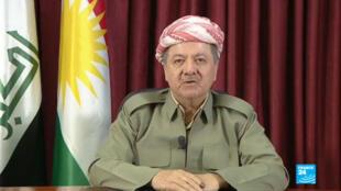 Le prédident de la région autonome du Kurdistan irakien, Massoud Barzani, lors d'un discours télévisé, le 26 septembre 2017.