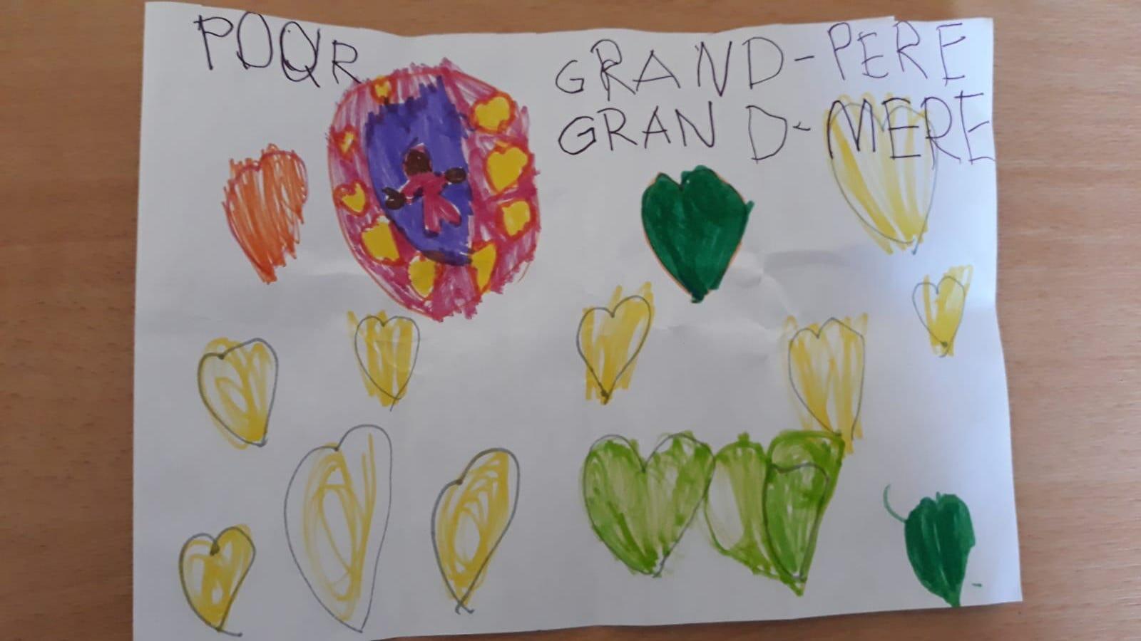 Dessin d'une petite fille de 5 ans adressé à ses grands-parents.