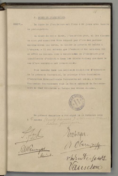 La 13e et dernière page de la convention d'armistice
