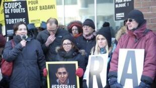 Mobilisation en faveur du blogueur Raif Badawi au Québec.