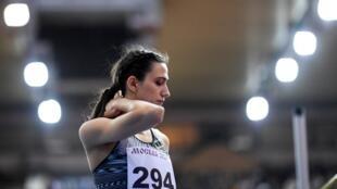 La star de l'athlétisme russe Maria Lasitskene lors d'une compétition moscovite le 9 février 2020