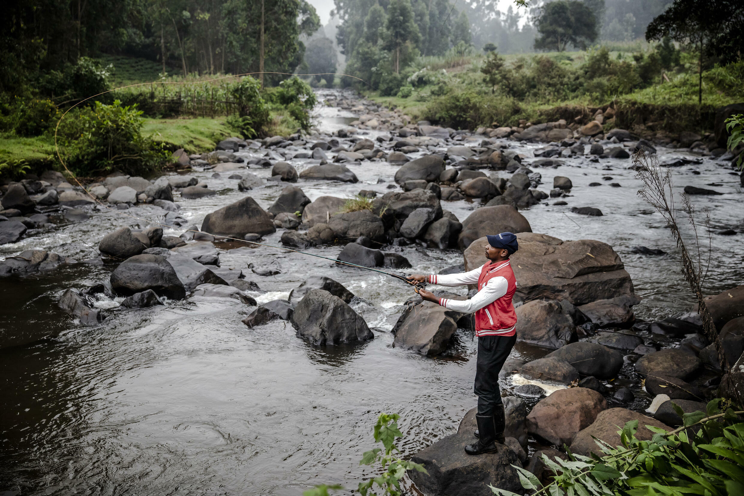 The fly fishing catch and release ethic is often not understood by Kenyans who fish for food