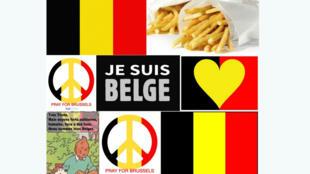 Les internautes affichent leur soutien à Bruxelles sur Twitter le 22 mars 2016.