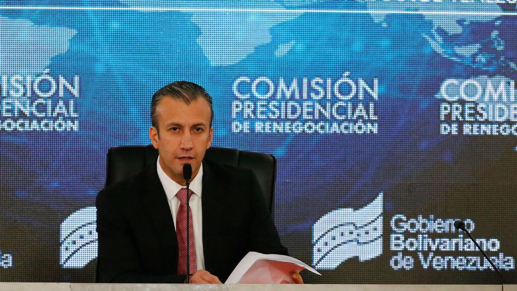 El vicepresidente venezolano, Tareck El Aissami, presidió la reunión con los acreedores de la deud externa.