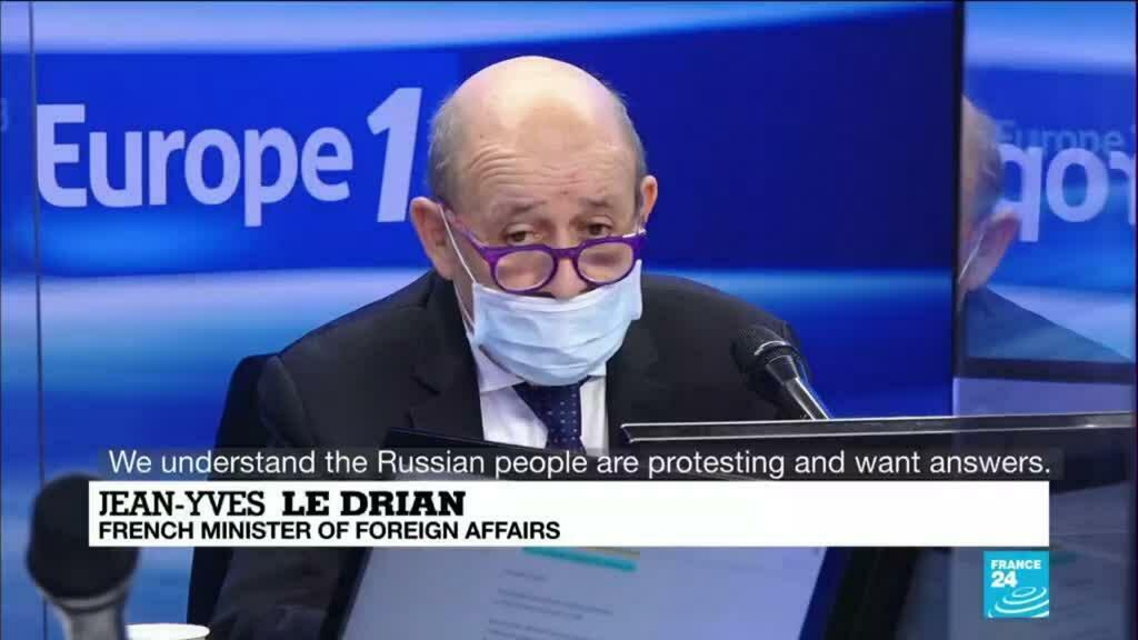 """2021-02-03 10:02 """"This is Kafkaesque"""": French foreign minister demands Navalny's immediate release"""