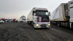 An aid lorry sent by controversial Turkish NGO IHH