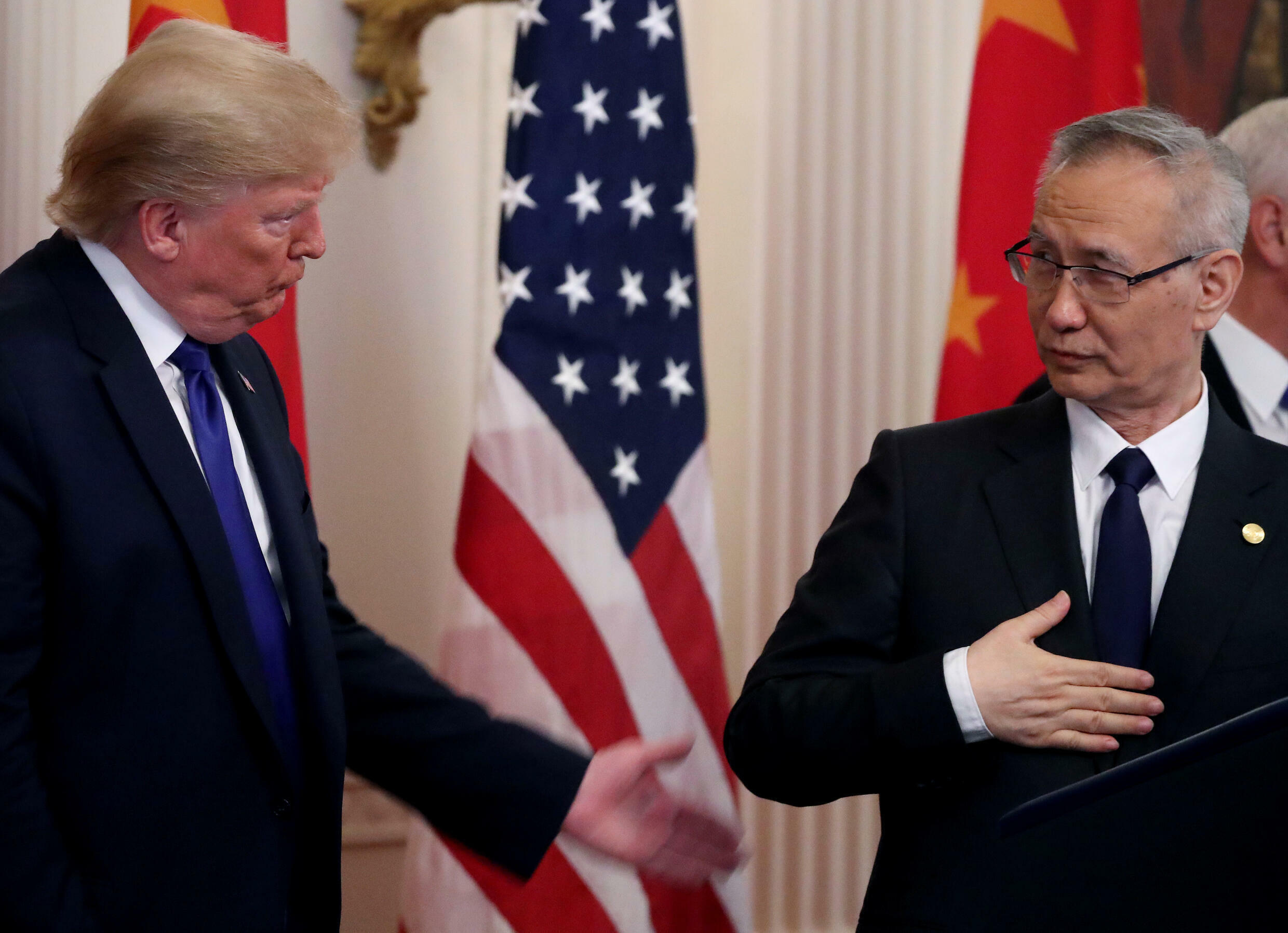Chinese Vice Premier Liu He at the signing of phase 1 of the bilateral trade agreement with former US President Donald Trump.  Photo taken at the White House on January 15, 2020