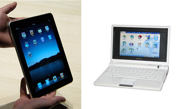 The iPad (left) and the first ASUS netbook, the Eee PC (right).