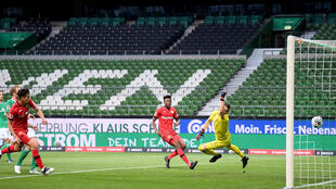 Havertz (L) scored twice at the Weserstadion