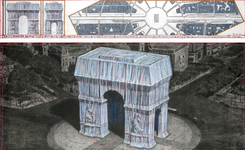 Photo fournie le 3 avril 2019 par Christo et Jeanne-Claude montrant le projet d'empaquetage de l'Arc de Triomphe à Paris