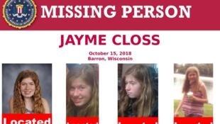 Jayme Closs había desaparecido el 15 de octubre, luego del asesinato de sus padres.