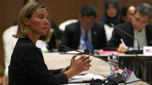 La cheffe de la diplomatie de l'UE Federica Mogherini, le 3 août 2018 à Singapour.
