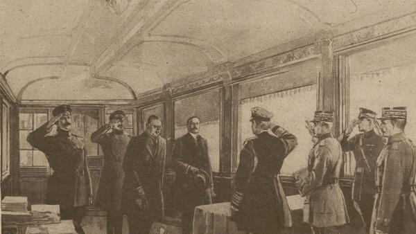 """La rencontre dans le wagon, à Rethondes, reprise en dessin dans """"Le Miroir"""", le 24 novembre 1918"""