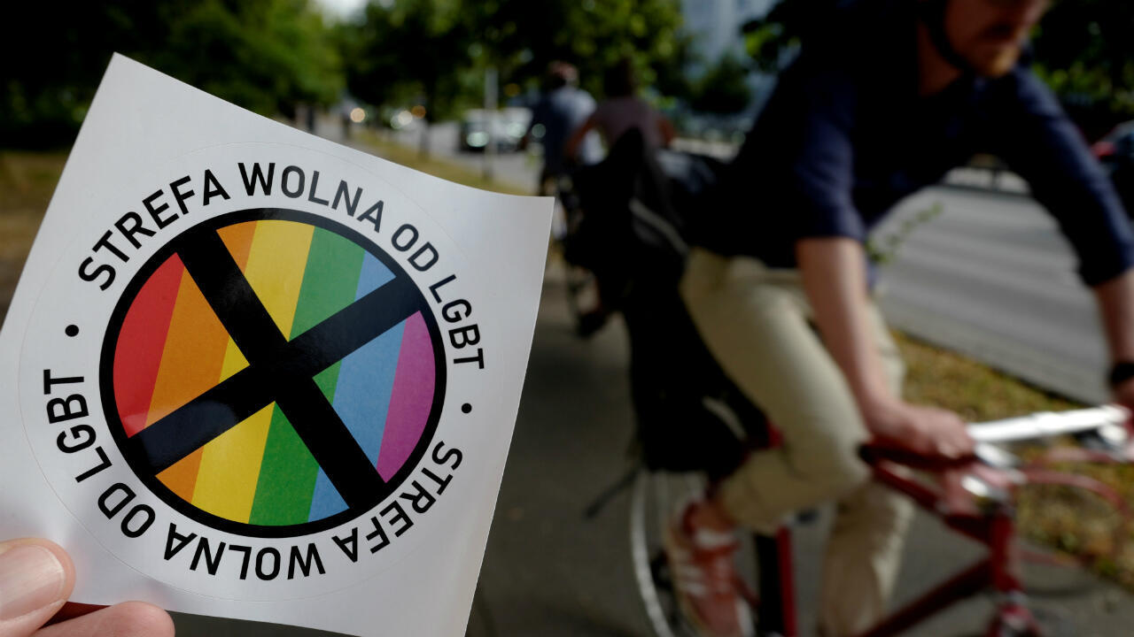 """A sticker with words """"LGBT-free zone"""" distributed in the weekly conservative magazine """"Gazeta Polska"""" is shown in Warsaw, Poland, on July 24, 2019."""