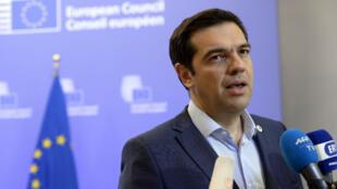 Le Premier ministre grec, Alexis Tsipras, à l'issue du sommet de l'Eurozone, le 13 juillet, à Bruxelles.