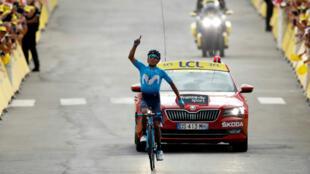 El colombiano Nairo Quintana (Movistar) ganó la etapa 18 y regresa al top 10 de la clasificación general el 25 de julio de 2019