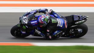 El piloto de Monster Energy Yamaha Maverick Viñales, durante los entrenamientos del Gran Premio de Valencia de MotoGP, el 13 de noviembre de 2020 en el Circuito Ricardo Tormo