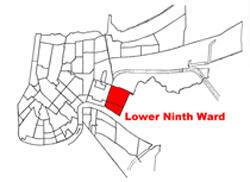 Le quartier du Lower Ninth Ward, à la Nouvelle Orléans, est bordé par le fleuve Mississipi au sud, la rue St. Parish à l'est, le canal Industriel à l'ouest et le canal Florida au nord.