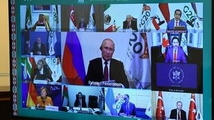 Russian President Vladimir Putin takes part in a video conference during the G20 Leaders' Summit 2020, November 22 2020.