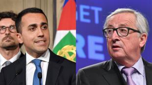 Pour l'Europe de Juncker (à droite), l'accord de gouvernement italien conclu entre le leader du Mouvement 5 étoiles Luigi Di Maio (à gauche) et celui de la Ligue du Nord, Matteo Salvini, est une bombe à retardement économique.
