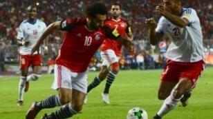 محمد صلاح سجل هدفي الفوز على الكونغو ليقود مصر لكأس العالم 2018 بروسيا. 2017/10/09.