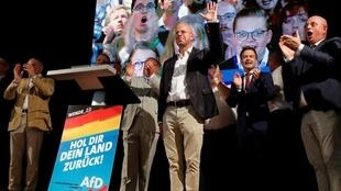 El candidato de Alternativa por Alemania por Brandeburgo, Andreas Kalbitz, celebra el fulgurante ascenso de su formación en la región.