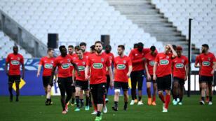 Les joueurs des Herbiers à l'entraînement au Stade de France, le 7 mai 2018.