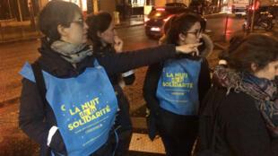 Maraude dans le 20ème arrondissement de Paris, lors de la Nuit de la solidarité, dans la nuit du 15 au 16 février 2018.