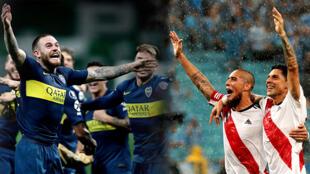 Los jugadores de Boca Juniors y River Plate celebran su clasificación a la final de la Copa Libertadores, que tendrá por primera vez como protagonista al superclásico argentino. Fotomontaje con imágenes del 30 y 31 de octubre de 2018.