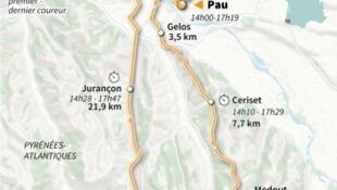 Parcours de la 13e étape du Tour de France, longue de 27,2 km de Pau à Pau, le 19 juillet
