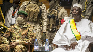 Mali's interim president Bah N'Daw, (right) and transitional vice president Col. Assimi Goita, (left), at a ceremony in the capital Bamako, Mali, September 25, 2020.