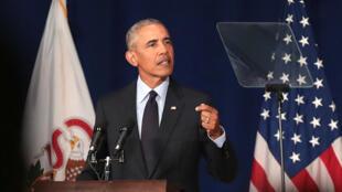 L'ancien président Barack Obama s'exprimait à l'université de l'Illinois.