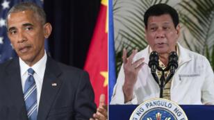 الرئيس الفلبيني رودريغو دوتيرتي والرئيس الأمريكي باراك أوباما