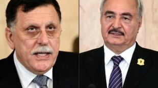 صورتان لرئيس حكومة الوفاق الوطني فايز السراج (يسار) والمشير خليفة حفتر (يمين)، التقطتا في تونس في 7 آب/اغسطس 2017 و18 أيلول/سبتمبر 2017