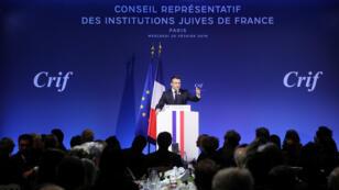 Emmanuel Macron, le 20 février 2019, au dîner du Crif à Paris.