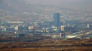 This picture taken on February 16, 2019 shows North Korea's Kaesong joint industrial complex area as seen from a South Korean observatory post in the southern boundary of the Demilitarized zone dividing the two Koreas in Paju.