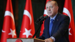 Recep Tayyip Erdogan lors d'un discours à Ankara, le 13 août 2018.
