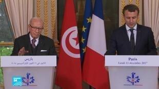 إيمانويل ماكرون استقبل الباجي قائد السبسي في 11 ك1/ديسمبر الماضي في باريس