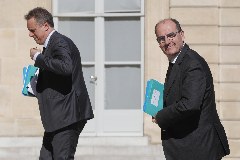 Le Premier ministre, Jean Castex, et son directeur de cabinet, Nicolas Revel, arrivant à l'Élysée, pour assister au Conseil de défense écologique, le 24 juillet 2020.