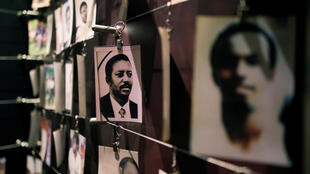 Pictures of Rwandan Genocide victims are displayed at an exhibition at the Genocide Memorial in Kigali, Rwanda, on April 6, 2019.