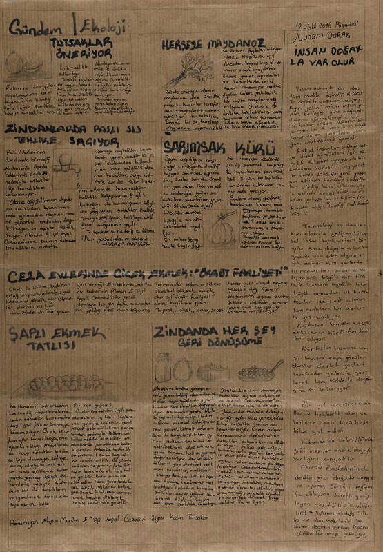An image from the newspaper that Zehra Dogan produced in prison.