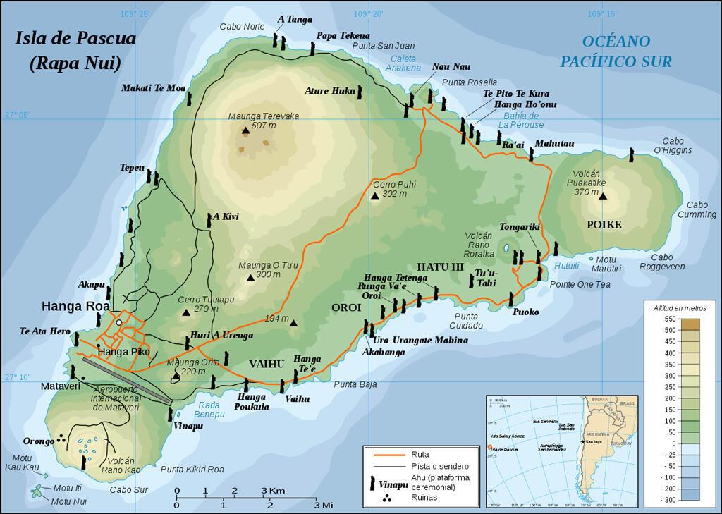 La ubicación de los moái en Isla de Pascua, Chile