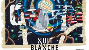 Affiche de la 17e Nuit Blanche à Paris.