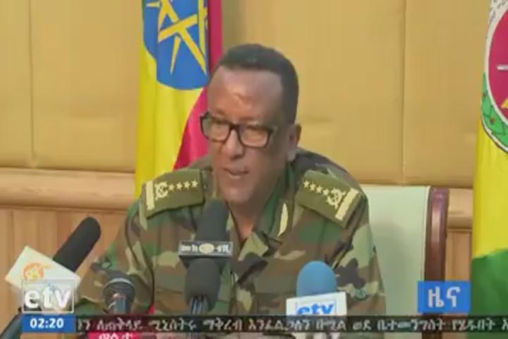 Imagen del jefe del Estado Mayor del Ejército, general Seare Mekonnen, tomada de un archivo de video.
