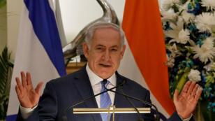 El primer ministro israelí Benjamín Netanyahu durante una visita oficial en India, el 15 de enero del 2018.