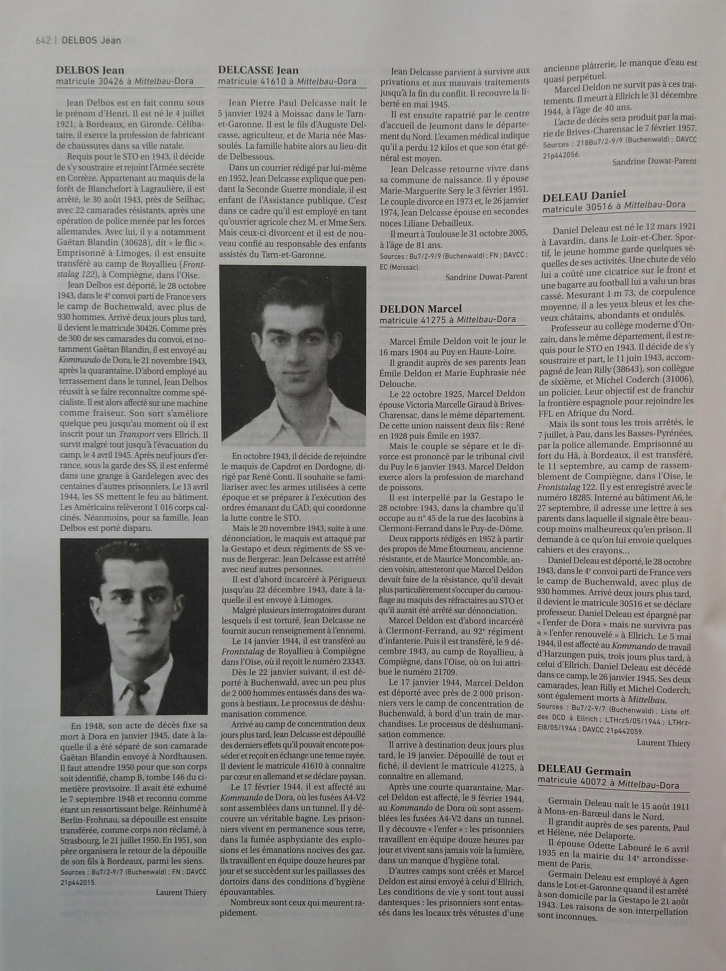 Une des pages du dictionnaire des 9000 déportés de France à Mittelbau-Dora.
