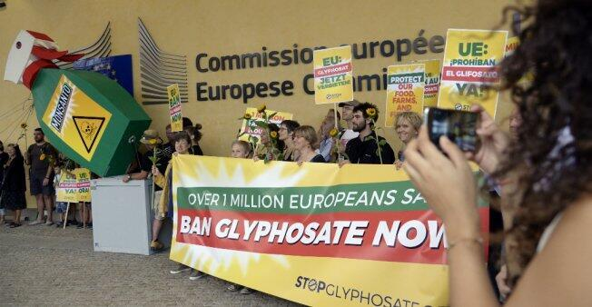 Manifestantes contra el uso del glifosato en la Unión Europea. Bruselas, 19 julio de 2017.
