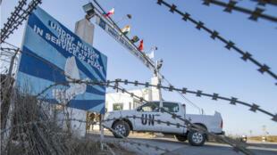 L'entrée du quartier général de la Fnuod, dans la zone démilitarisée entre Israël et la Syrie.