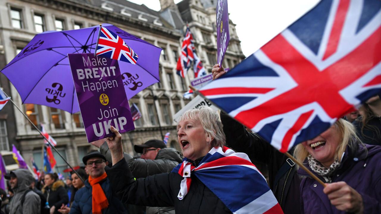 Los partidarios del Brexit se manifiestan en el centro de Londres, Reino Unido, el 9 de diciembre de 2018.